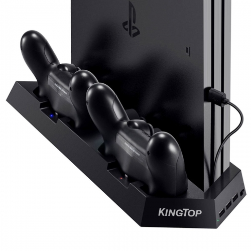 [UPDATED Vertical Stand Charger for PS4 / PS4 Pro / PS4 Slim] KINGTOP PS4 / PS4 Pro / PS4 Slim Dual Controller Charging Station with Cooling Fan for S