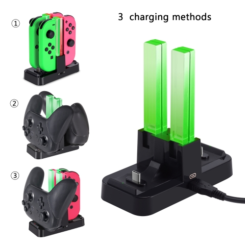 Nintendo Switch Charging Dock KINGTOP 6 in 1 Charger Docking Station with Individual LED Indicator and Type-C USB Cable for Joy-Con and Pro Controller